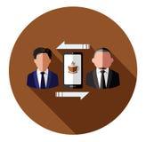Det äger rum för kaffetid Businessperson som förbinder med mobilen stock illustrationer