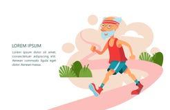 Det äldre folket leder en aktiv livsstil En äldre man joggar stock illustrationer