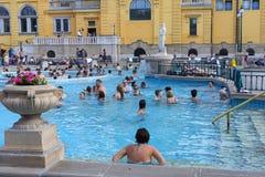 Det äldsta Szechenyi medicinska badet är det största medicinska badet i Europa Royaltyfria Foton