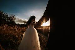 Det älskvärda paret spenderar tid i fältet royaltyfri foto