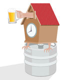 Det är dags att dricka öl working för tabell för man för humoristisk illustration för tecknad filmkattdator liggande Arkivbild