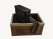 Det är en ask av ammunitionar Arkivbild