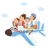 Det är en familjsemester på, flygplanet Royaltyfri Fotografi
