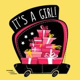 Det är en flickahälsningvykort eller en klistermärke, minsta plan stil för tecknad filmorättperspektiv körande bil mycket av gåvo vektor illustrationer