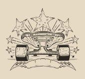 Det är en illustration av skateboarden med stjärnor Arkivbilder