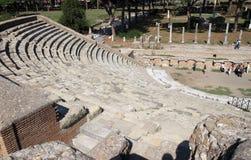 Fördärvar av Amfitheatre i Ostia Antica, Italien Fotografering för Bildbyråer