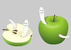 det åt äpplet avmaskar Royaltyfri Bild