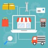 Det öppna informationsdiagrammet shoppar på e-kommers stock illustrationer