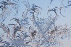 Det abstrakt frostigt mönstrar på exponeringsglas Royaltyfria Foton