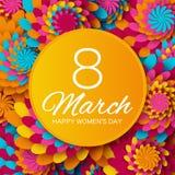 Det abstrakta blom- hälsningkortet - internationella lyckliga kvinnors dag - 8 feriebakgrund för mars med papperssnittramen blomm Arkivbild