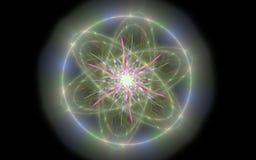 Det abstrakta glödande vetenskapliga symbolet med en stjärna av rosa färger färgar i mitten på en svart bakgrund Fotografering för Bildbyråer