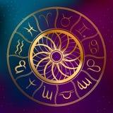 Det abstrakta horoskopet för bakgrundsastrologibegreppet med zodiak undertecknar illustrationen Royaltyfria Foton