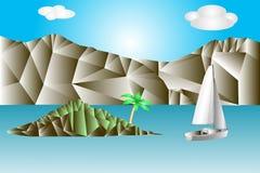 Det abstrakta landskapet med havet, vaggar, gör grön ön med palmträdet och vitseglingyachten Miniatyr i en mosaikstil vektor illustrationer
