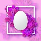 Det abstrakta purpurfärgade blom- hälsningkortet - lycklig påskdag - fjädra påskägget vektor illustrationer