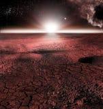 Det abstrakta röda landskapet av Mars planeten Ser som kall öken på Mars Ett enormt fält av is Arkivbild
