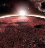 Det abstrakta röda landskapet av Mars planeten Ser som kall öken på Mars Ett enormt fält av is Royaltyfri Foto