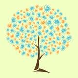 Det abstrakta trädet behandla som ett barn spårhjärtalogo Arkivbild