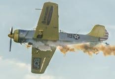 Det Aerobatic flygplanet lotsar utbildning i himlen av den Bucharest staden, Rumänien Kulört flygplan med spårrök Arkivfoto