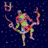Det alternativa zodiaktecknet Ophiuchus med blommor fyller över stjärnklart Royaltyfri Fotografi