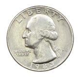 Det amerikanska myntet i tjugo fem cents Arkivbild