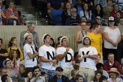 Det Andy Murray servicelaget på Rod Laver Arena under australier öppnar 2016 matchen för runda 4 Royaltyfri Bild