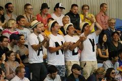 Det Andy Murray servicelaget på Rod Laver Arena under australier öppnar 2016 matchen för runda 4 Royaltyfria Bilder