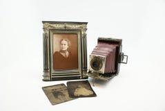 det antika kamerafotografiet plates tappning Royaltyfri Foto