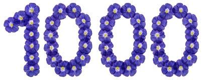 Det arabiska talet 1000, tusen, från blåa blommor av lin, är Arkivfoto