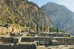 Det arkeologiskt fördärvar av Delphi i Grekland royaltyfri bild