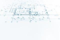 Det arkitektoniska projektet, den tekniska teckningen, konstruktion planerar tillbaka Arkivbild