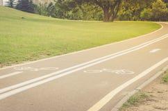 Det asfalterade cykelspåret i parkerar/det asfalterade cykelspåret i t royaltyfria bilder