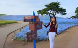 Det asiatiska kvinnaanseendet med riktningstecken av färgrika nemophilaflödesfält i den Hitachi sjösidan parkerar framme, Ibaraki Fotografering för Bildbyråer