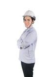 Det asiatiska kvinnaanseendet och korsar en arm för ` s på isolerad vit backg Arkivfoton