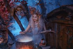 Det atmosfäriska kalla höstfotoet i konst som bearbetar, en bra häxa, skapar en magisk elixir nära hans skoghem som rymmer arkivbilder