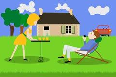 Det avgick paret vilar i trädgården stock illustrationer