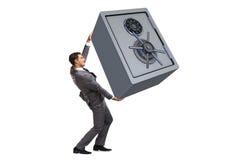 Det bärande kassaskåpet för affärsman som isoleras på vit arkivbild