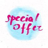 Det bästa priset för det speciala erbjudandet 50 procent av - räcka bokstävertext Arkivbild