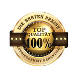 Det bästa priset - stämpel för tyskt språk Arkivfoto