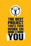 Det bästa projektet som du ska arbeta någonsin på, är dig Affisch för citationstecken för motivation för idrottshallgenomkörare i stock illustrationer