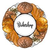 Det Bakeshop banret med färgrikt och linjen bakade nytt bröd, släntrar, och giffel skissar in stil vektor illustrationer