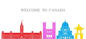 det bakgrundskantKanada landet detailed white för form för region för flaggor symboler isolerad set Isolerad Kanada arkitektur på Royaltyfri Fotografi