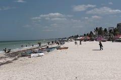 Det beachfront av Progreso i norden av Merida, Yucatan, Mexico arkivfoton