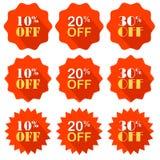 Det befordrings- erbjudandet är en procentsatsrabatt vektor emblem annonsering royaltyfri illustrationer