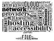 Det begreppsmässiga etikettsmolnet som innehåller ord, gällde för att fördunkla beräkning, datorkapaciteten, lagring, nätverkande Arkivfoto