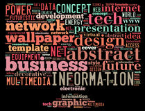 Det begreppsmässiga etikettsmolnet som innehåller ord, gällde för att fördunkla beräkning, datorkapaciteten, lagring, nätverkande Arkivbild
