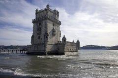 Det Belém tornet Lissabon Portugal är en turism för arkitektur för museum för fästning för Manueline stilfort Arkivbild