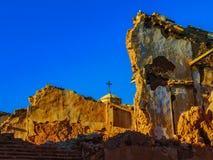 Det Belchite bykriget fördärvar i Aragon Spanien på skymning Royaltyfri Bild