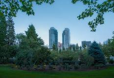 Det Bellevue centret parkerar i aftonen Royaltyfri Fotografi