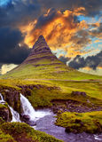 Det berömda berget i Island Royaltyfria Bilder