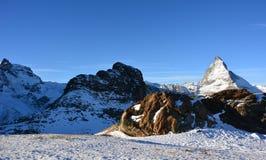 Det berömda berget i Schweiz arkivfoton